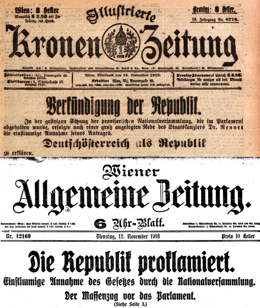 ausrufung der republik 1918 quellen